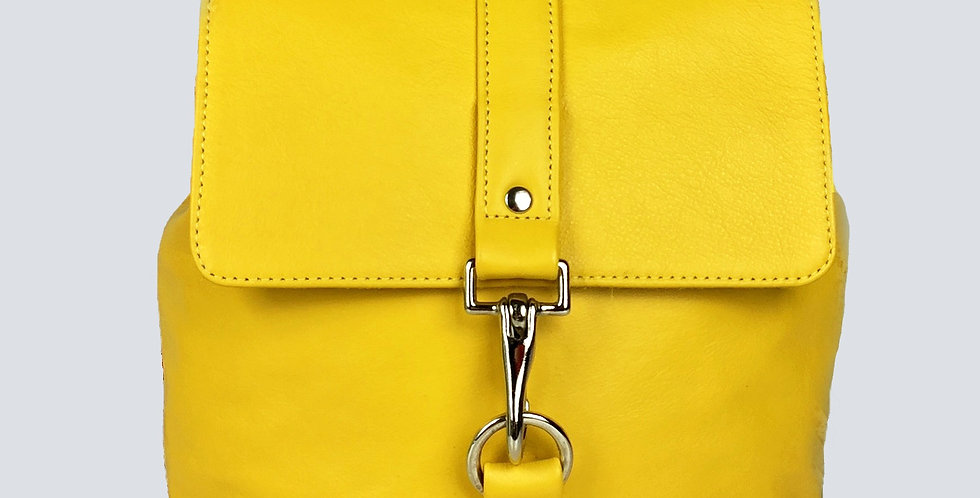Small Leather Backpack - Yellow