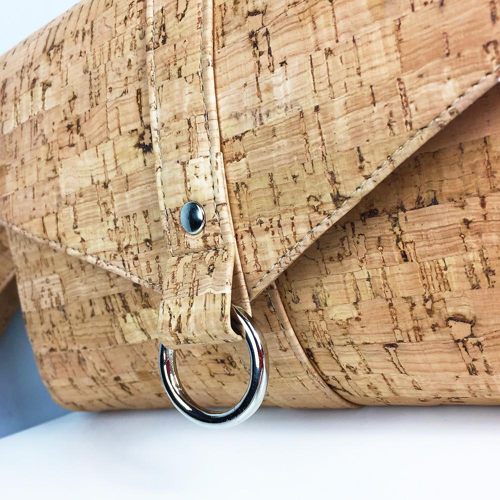 Natural Cork Fabric Clutch Bag