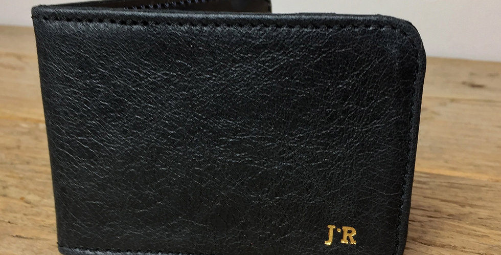 Personalised Black Leather Card Holder