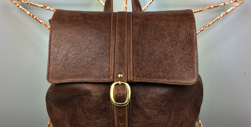 Women's brown leather backpack