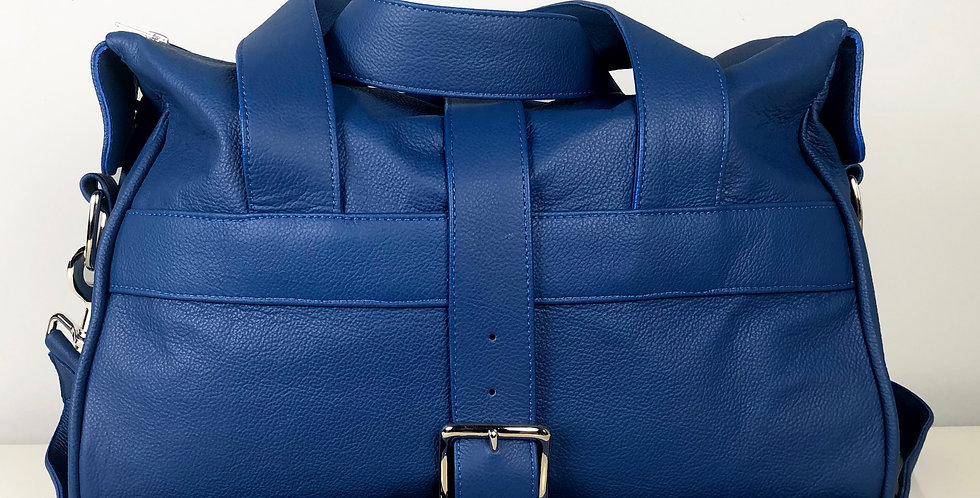 Blue Leather Overnight Bag