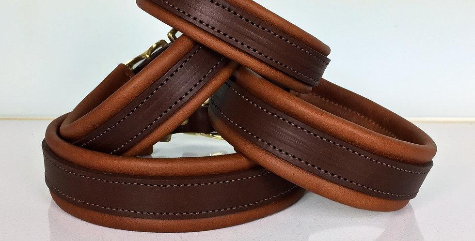 Padded brown dog collar