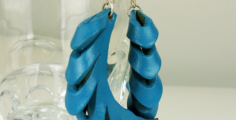 Blue Leather & Silver Curved Earrings
