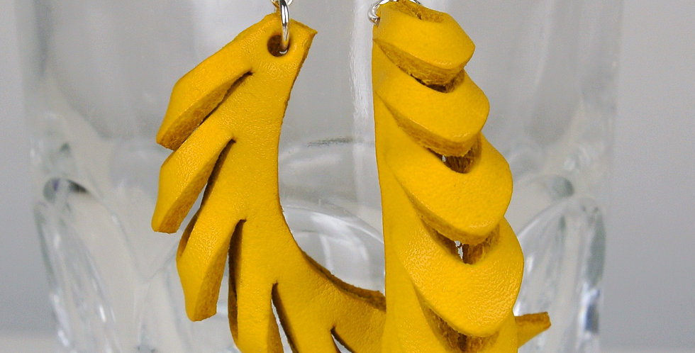 Yellow Leather & Silver Curved Earrings