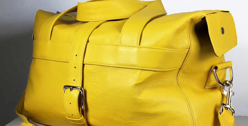 Yellow Leather Travel Bag