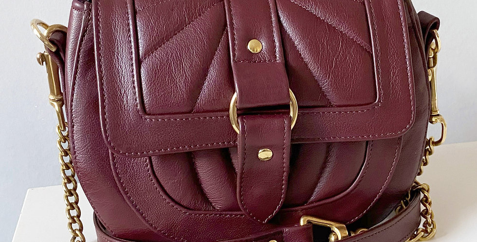 Claret Quilted Chain Saddle Bag