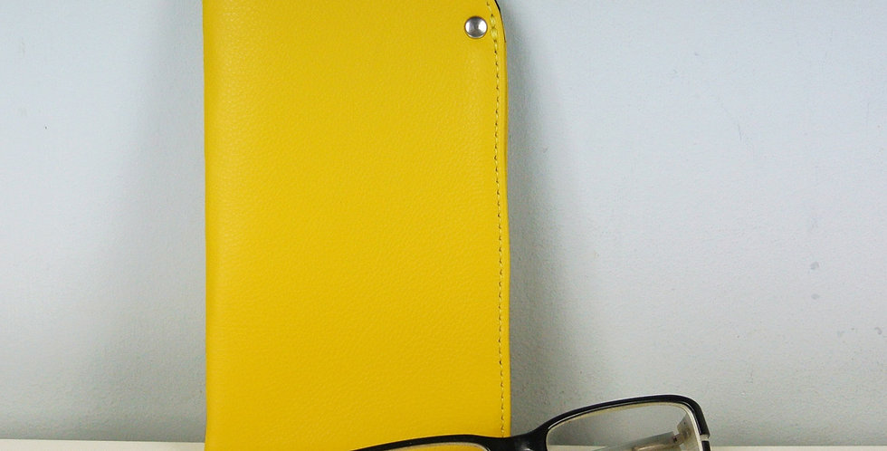 Yellow leather glasses case