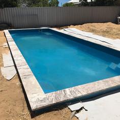Travertine pool edging
