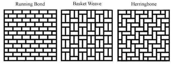 travertine-pavers-pattern-examples of Running bond- Basket weave-Herringbone