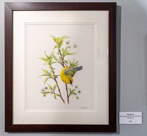 Blue-winged Warbler in Wild Plum by Kat  Brown