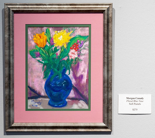 Floral In Blue Vase by Morgan Canady