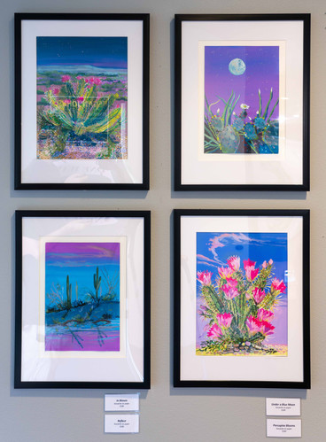 """""""In Bloom,"""" """"Under a Blue Moon,"""" """"Porcupine Blooms,"""" and """"Reflect"""" (clockwise from top left)"""