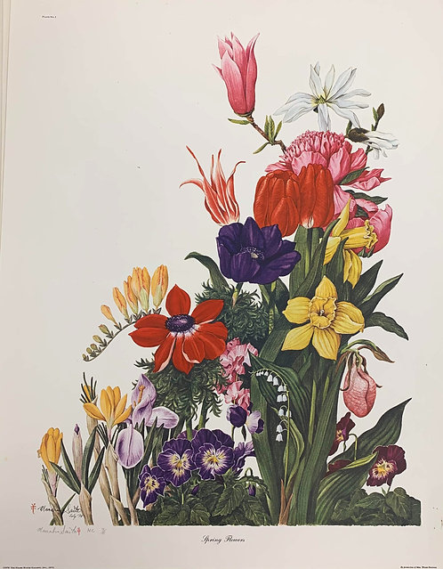 Spring Flowers Signed Print by Manabu Saito