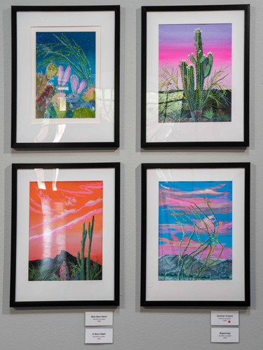 """""""Blue Hour Hares,"""" """"Summer Crowns,"""" """"Beginnings,"""" and """"A Neon Night"""" (clockwise from top left)"""