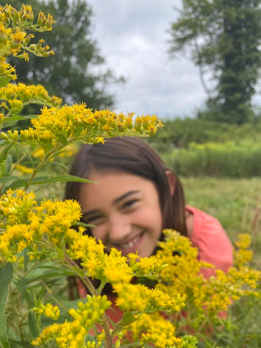matilda in yellow flowers