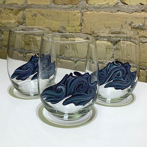 Handpainted Lake Superior Wine Glass