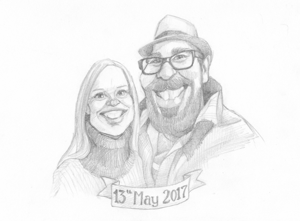 Pencil caricature drawing