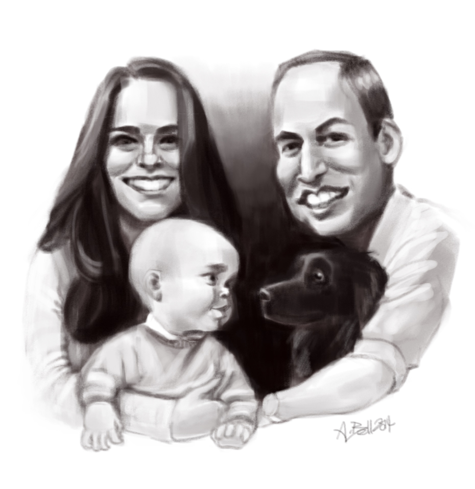 Will, Kate, George and Dog