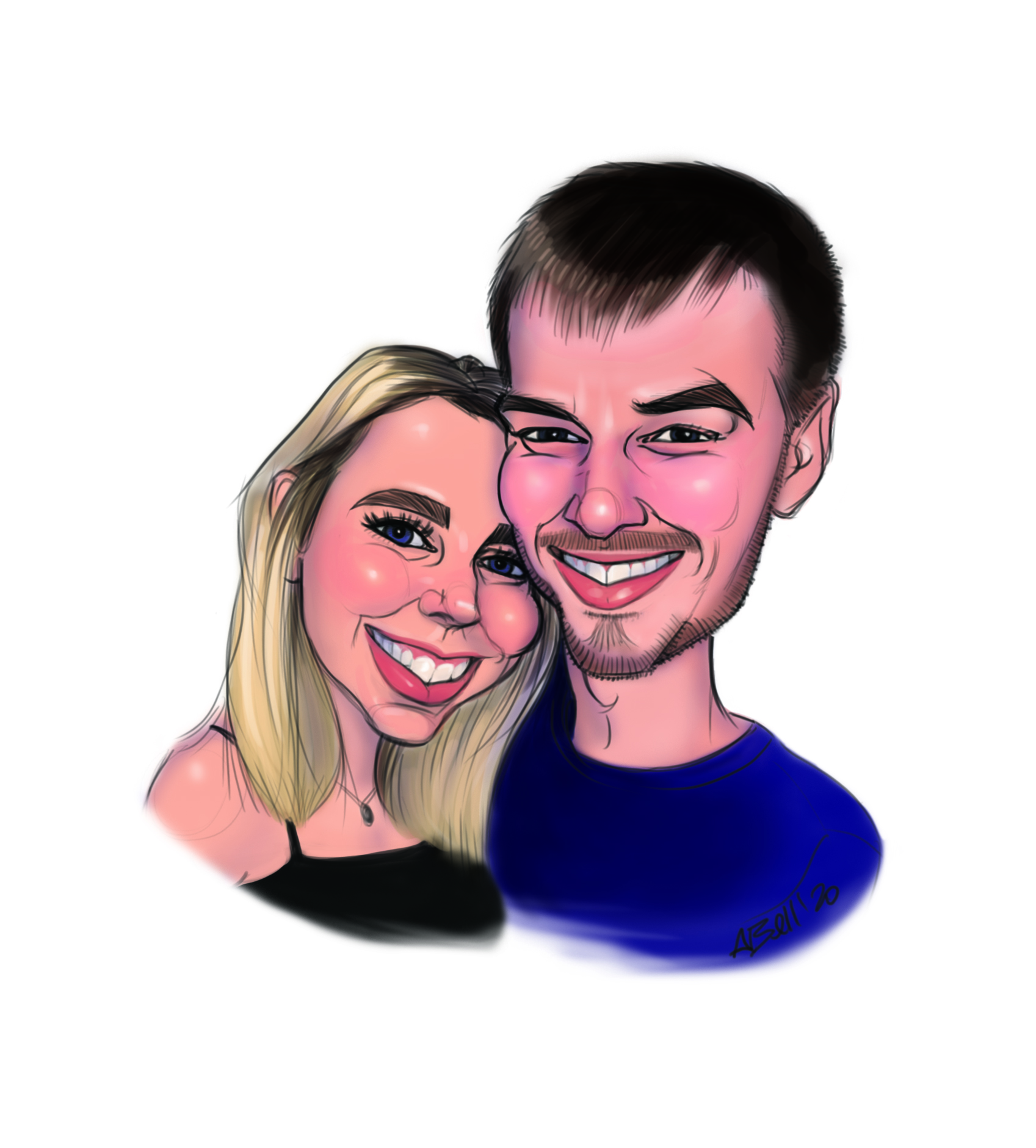 Digital couple caricature