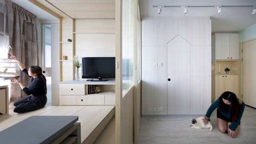 INTERJERO APŽVALGA • butas pritaikytas trims žmonėms, katei ir papūgai