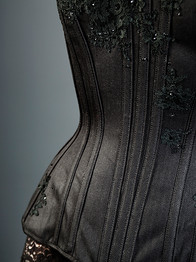 Black Corset with Lace and Crystals