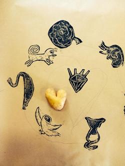 Print with heart shape potato