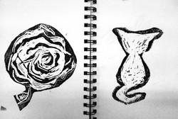 Rose + Cat Print