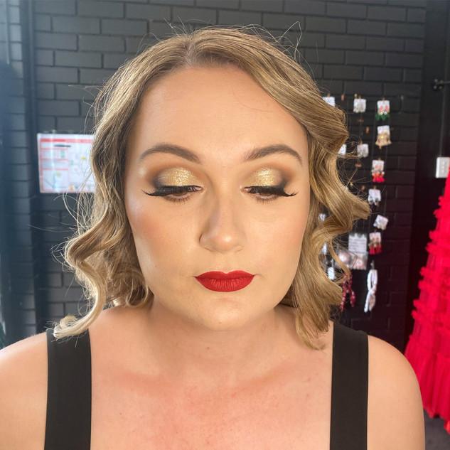 warm brown gold smokey glam makeup red l