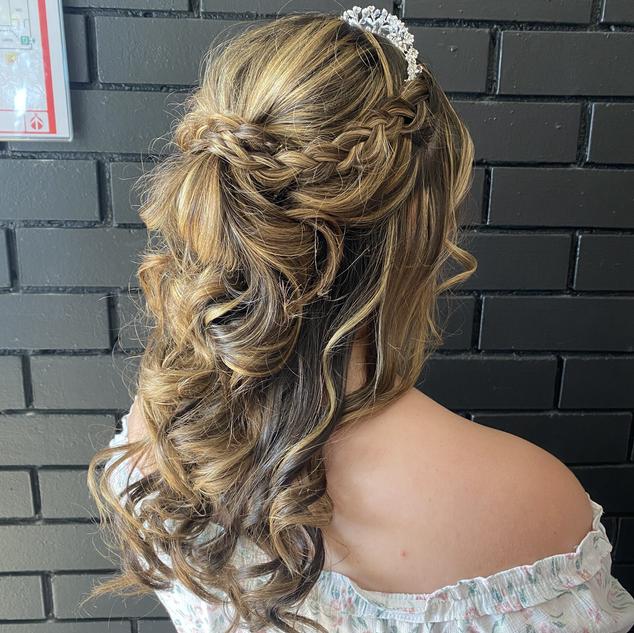 half up half down braid formal hairstyle