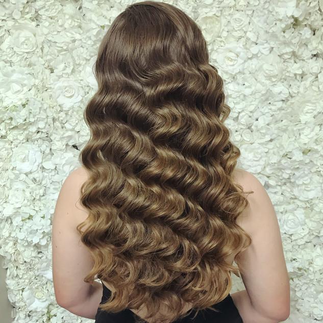 tight hollywood waves long hair formal h