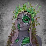 Medusa Halloween cosplay fantasy makeup.