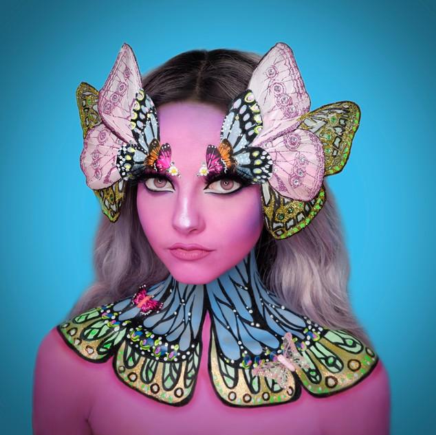 butterfly fantasy halloween cute makeup.