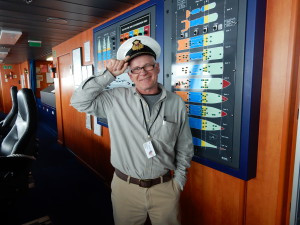 The tour of the bridge, the nerve center of the ship, gives everyone a chance to be honorary captain.