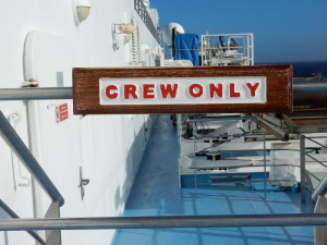 Many area of the ship are   restricted.