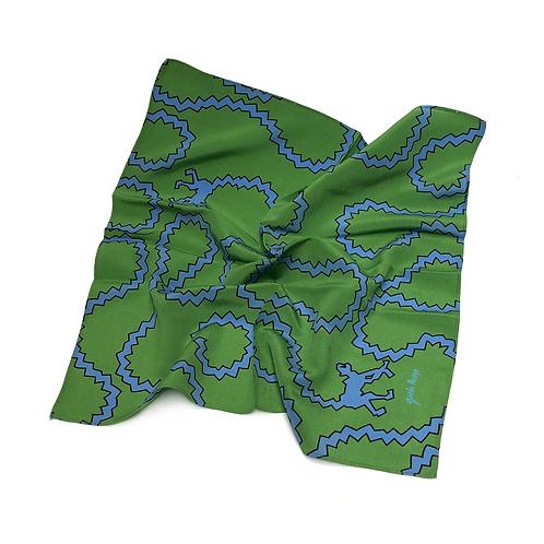 Lenço Seda Pura Gisela Pecego - Macacos Azul e Verde