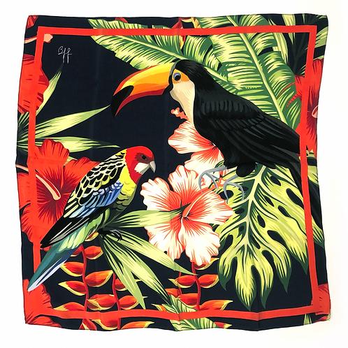 Lenço Pura Seda Tropical Fly - Tamanho M