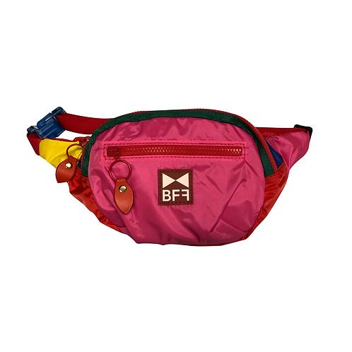 Pochete Nylon colorida frente pink 2