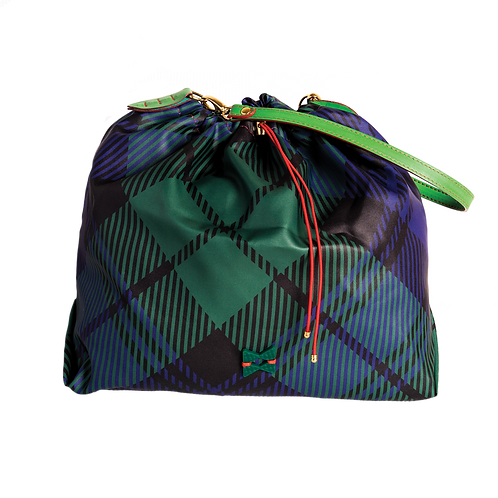Green Tartan Balloon Bag