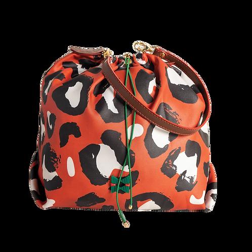 Brown and White Animal Print Balloon Bag