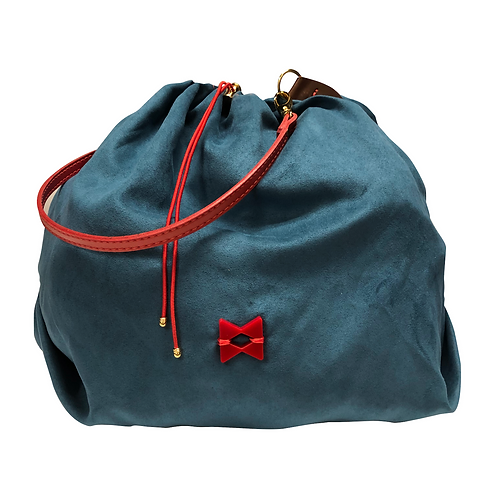 Very Light Suede - Not Skin - Blue Balloon Bag - Tamanho M