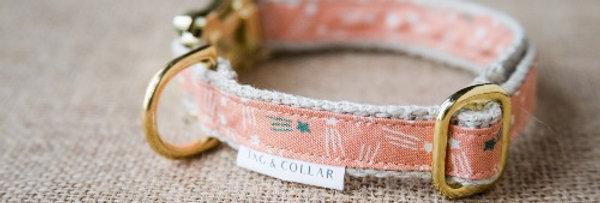 Pink Orange Tag & Collar Eco Friendly Hemp Cotton Dog Collar