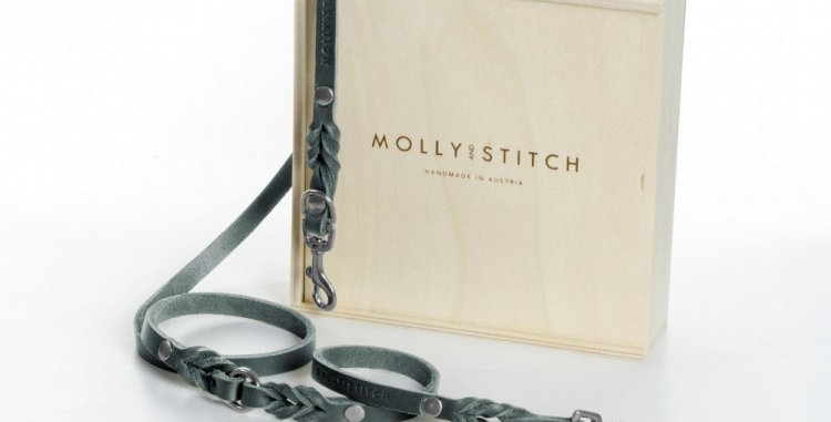 """Molly & Stitch - Timeless Grey """"Butter"""" Leather 2x Adjustable Dog Leash"""