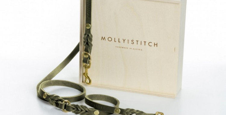 """Molly & Stitch - Olive Tree Green """"Butter"""" Quality Leather 2x Adjustable Dog Lead"""