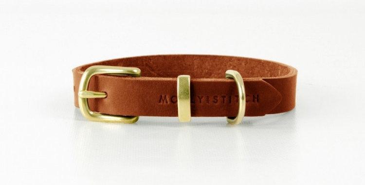 "Molly & Stitch - Sahara Cognac ""Butter"" Leather Dog Collar"
