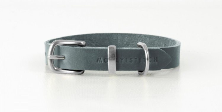"""Molly & Stitch - Timeless Grey """"Butter"""" Leather Dog Collar"""