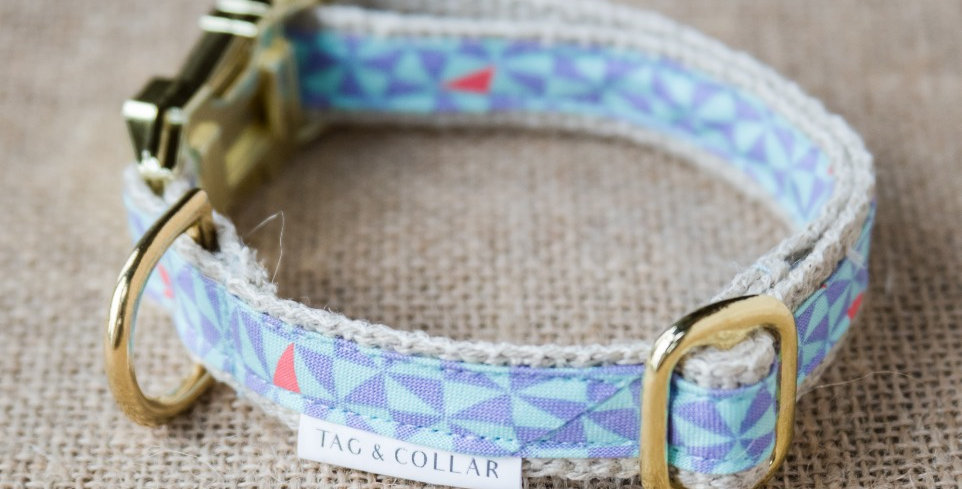 Tag and Collar Geo Fantastic eco friendly sustainable hemp cotton and solid brass blue patterned dog collar
