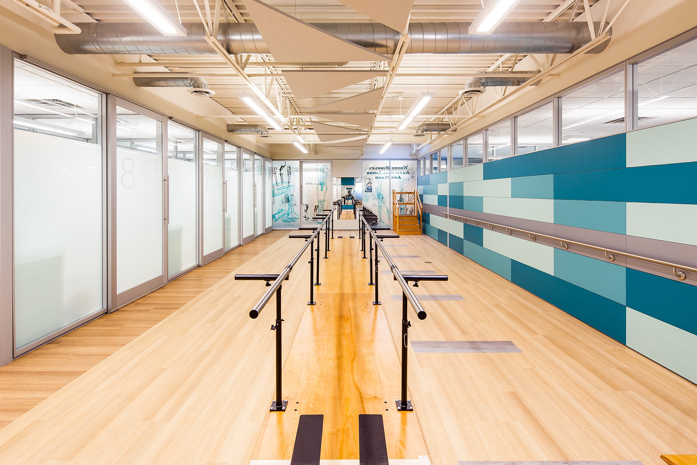 winkley orthotics and prosthetics photo of gait gym, parallel bars, patient rooms, stairs, big area