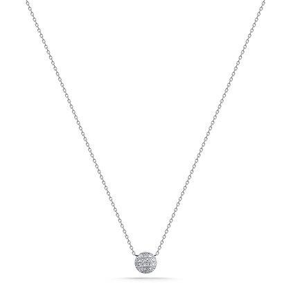 Dana Rebecca 14ct white gold and diamond Lauren Joy disc necklace