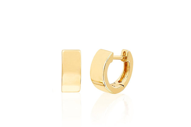 EF Collection 14ct gold wide huggie earrings