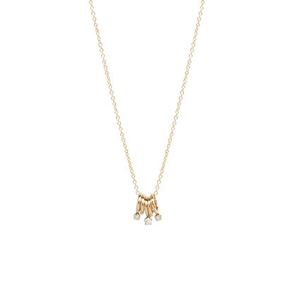 Zoe Chicco 14ct gold and diamond five rings necklace